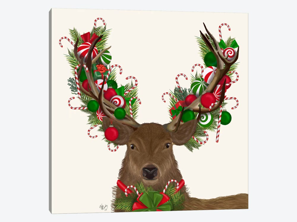Deer, Candy Cane Wreath by Fab Funky 1-piece Canvas Art Print