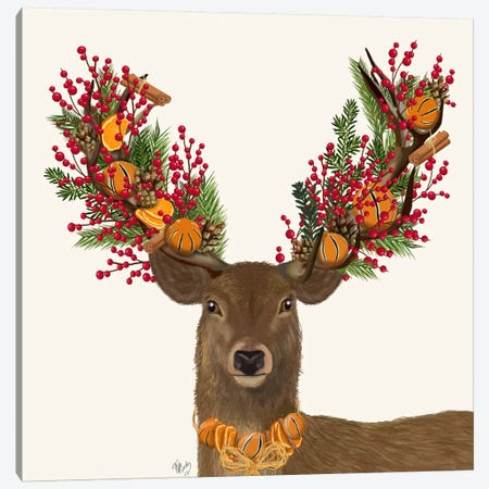Deer, Cranberry and Orange Wreath Canvas Print #FNK593} by Fab Funky Canvas Artwork