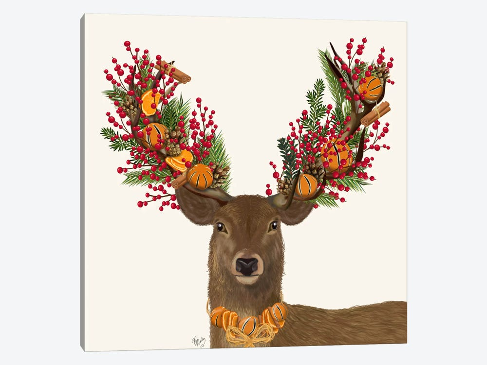 Deer, Cranberry and Orange Wreath by Fab Funky 1-piece Canvas Wall Art