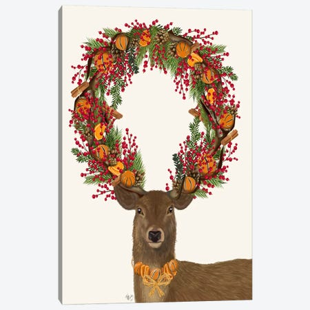 Deer, Cranberry and Orange Wreath, Full Canvas Print #FNK594} by Fab Funky Canvas Print