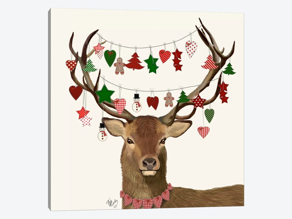 Deer, Homespun Decorations 1-piece Canvas Art