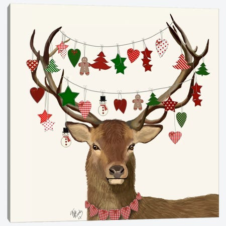 Deer, Homespun Decorations Canvas Print #FNK595} by Fab Funky Art Print