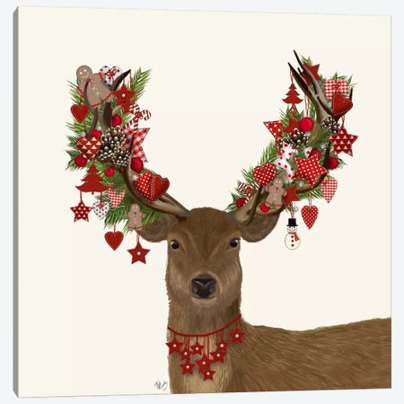 Deer, Homespun Wreath Canvas Print #FNK596} by Fab Funky Canvas Art Print