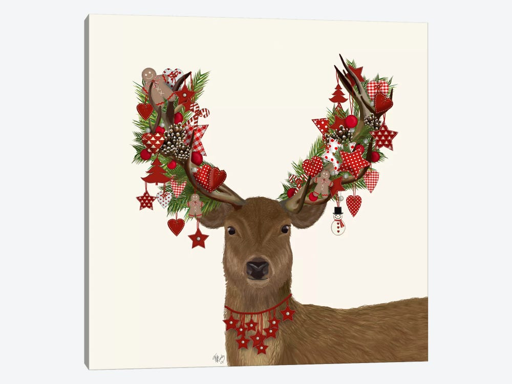Deer, Homespun Wreath by Fab Funky 1-piece Canvas Print