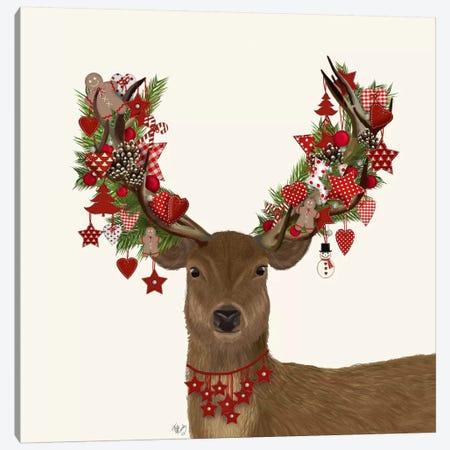 Deer, Homespun Wreath Canvas Print #FNK596} by Fab Funky Canvas Art Print