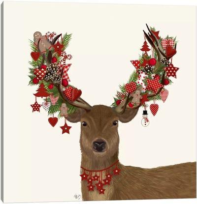 Deer, Homespun Wreath Canvas Art Print
