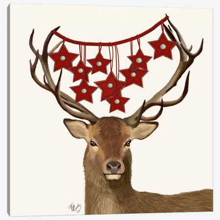 Deer, Star Decorations Canvas Print #FNK597} by Fab Funky Art Print