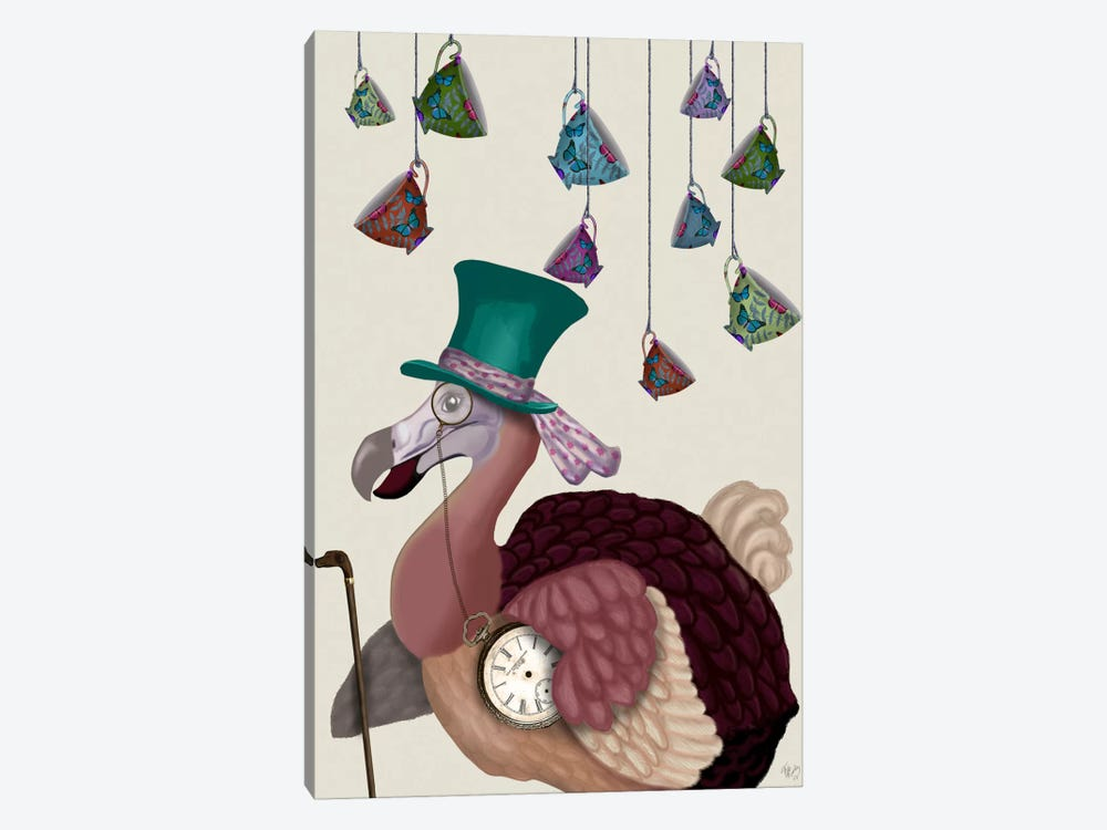 Dodo with Hanging Teacups by Fab Funky 1-piece Canvas Art Print