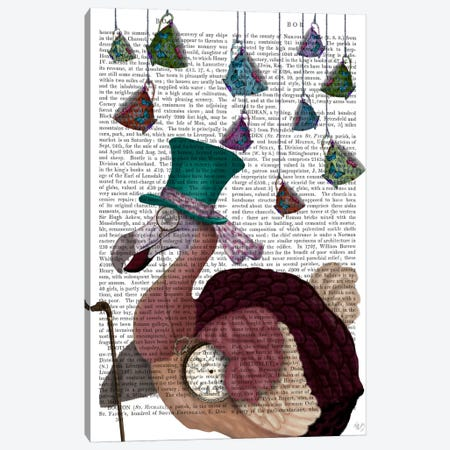 Dodo with Hanging Teacups, Print BG Canvas Print #FNK599} by Fab Funky Canvas Art