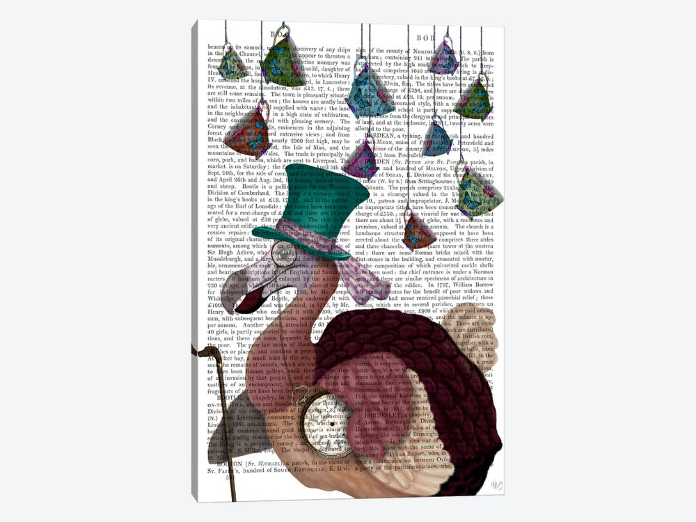 Dodo with Hanging Teacups, Print BG by Fab Funky 1-piece Canvas Art