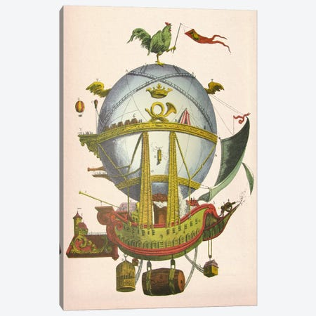 Minerve Hot Air Balloon Canvas Print #FNK59} by Fab Funky Canvas Art