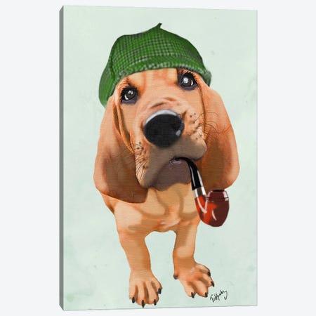 Bloodhound Sherlock Holmes Canvas Print #FNK5} by Fab Funky Art Print