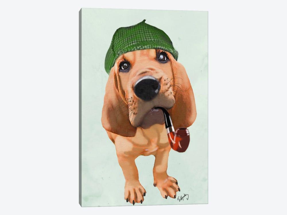 Bloodhound Sherlock Holmes by Fab Funky 1-piece Canvas Wall Art