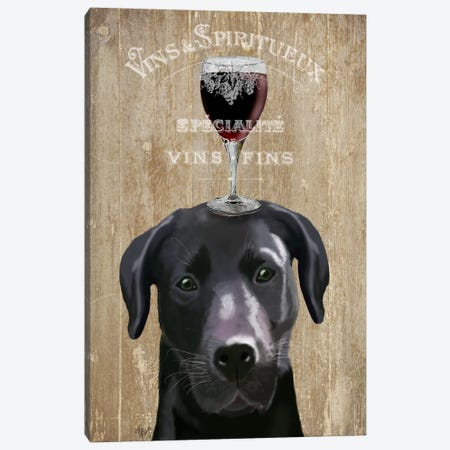 Dog Au Vin, Black Labrador Canvas Print #FNK600} by Fab Funky Canvas Artwork