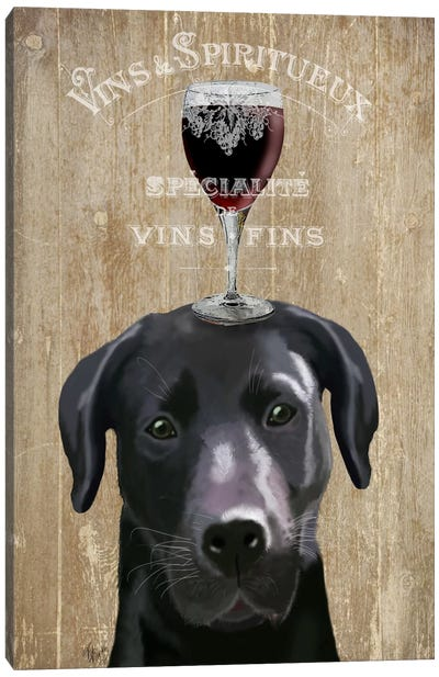 Dog Au Vin, Black Labrador Canvas Art Print