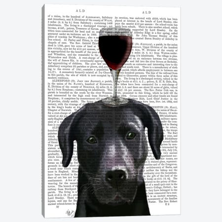 Dog Au Vin, Black Labrador, Print BG Canvas Print #FNK601} by Fab Funky Canvas Wall Art