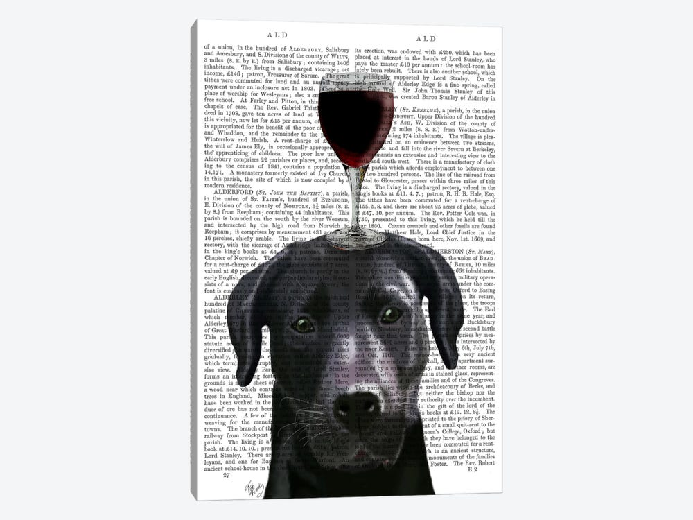 Dog Au Vin, Black Labrador, Print BG by Fab Funky 1-piece Canvas Print