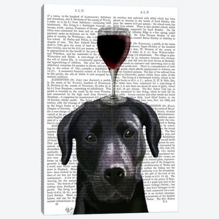 Dog Au Vin, Black Labrador, Print BG 3-Piece Canvas #FNK601} by Fab Funky Canvas Wall Art