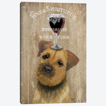 Dog Au Vin, Border Terrier Canvas Print #FNK602} by Fab Funky Canvas Wall Art