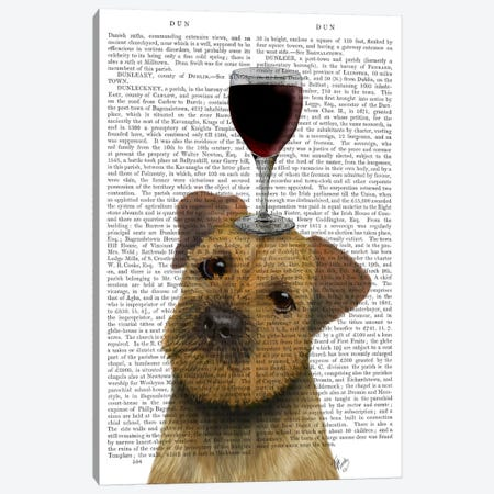 Dog Au Vin, Border Terrier, Print BG Canvas Print #FNK603} by Fab Funky Canvas Artwork