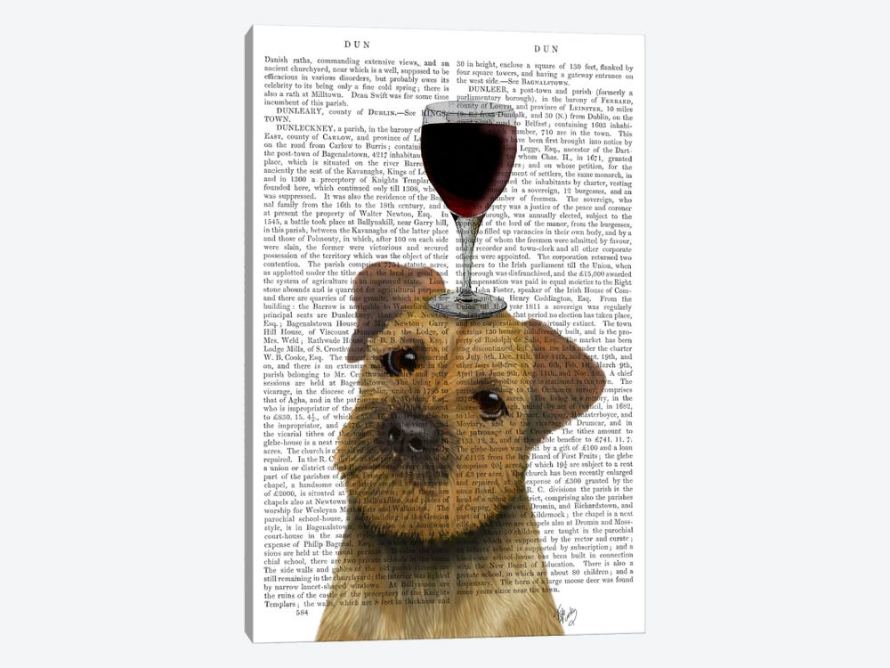 Dog Au Vin, Border Terrier, Print BG by Fab Funky 1-piece Art Print