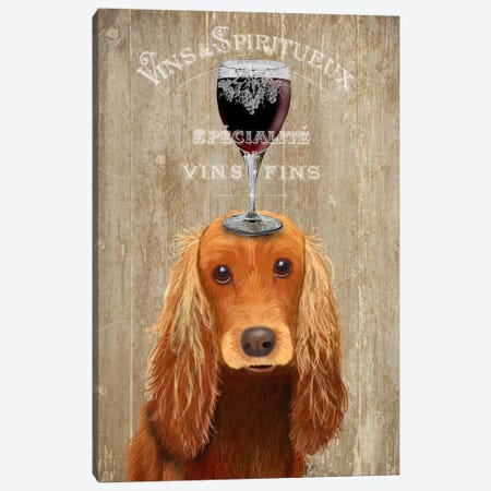 Dog Au Vin, Cocker Spaniel Canvas Print #FNK604} by Fab Funky Canvas Print
