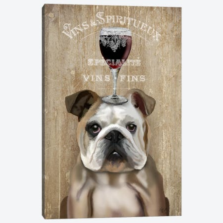 Dog Au Vin, English Bulldog Canvas Print #FNK606} by Fab Funky Art Print