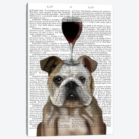 Dog Au Vin, English Bulldog, Print BG Canvas Print #FNK607} by Fab Funky Canvas Art Print