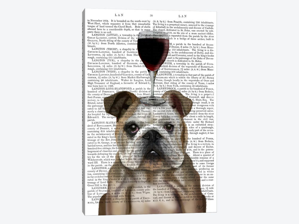 Dog Au Vin, English Bulldog, Print BG by Fab Funky 1-piece Canvas Print