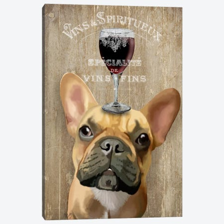 Dog Au Vin, French Bulldog Canvas Print #FNK608} by Fab Funky Canvas Artwork