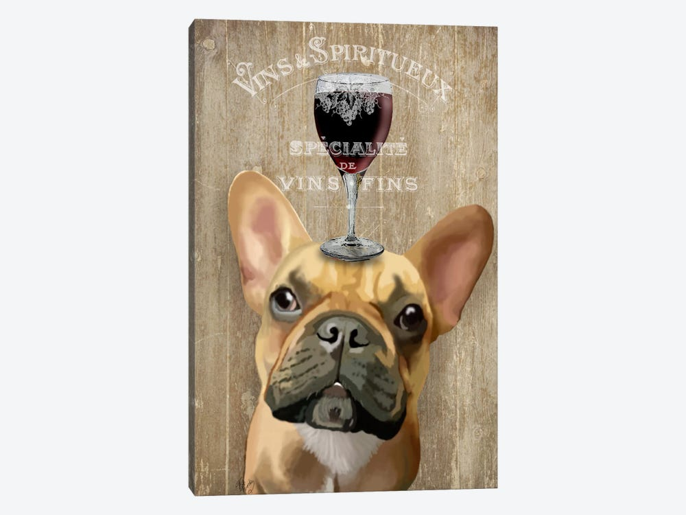 Dog Au Vin, French Bulldog by Fab Funky 1-piece Canvas Artwork