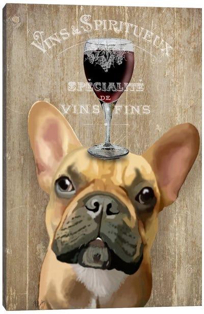 Dog Au Vin, French Bulldog Canvas Art Print