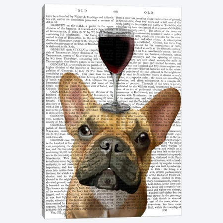 Dog Au Vin, French Bulldog, Print BG Canvas Print #FNK609} by Fab Funky Canvas Art