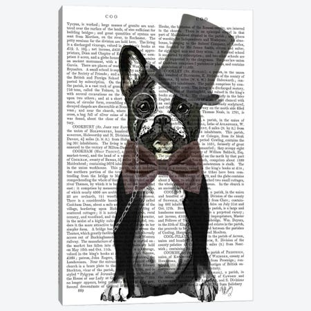 Monsieur Bulldog Canvas Print #FNK60} by Fab Funky Canvas Art Print