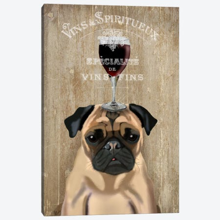 Dog Au Vin, Pug Canvas Print #FNK610} by Fab Funky Art Print