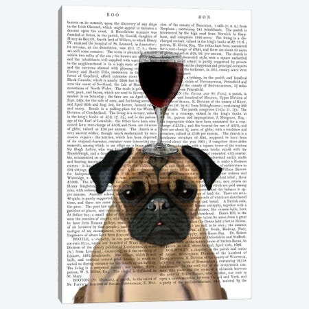 Dog Au Vin, Pug, Print BG Canvas Print #FNK611} by Fab Funky Canvas Art Print