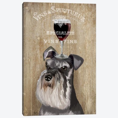 Dog Au Vin, Schnauzer Canvas Print #FNK612} by Fab Funky Canvas Print