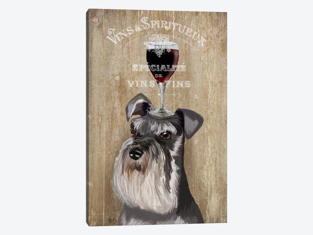 Dog Au Vin, Schnauzer by Fab Funky 1-piece Canvas Print