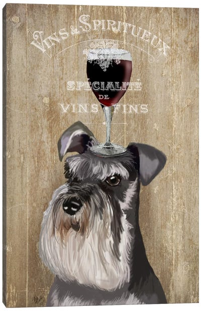 Dog Au Vin, Schnauzer Canvas Art Print