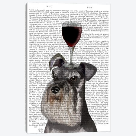 Dog Au Vin, Schnauzer, Print BG Canvas Print #FNK613} by Fab Funky Canvas Print