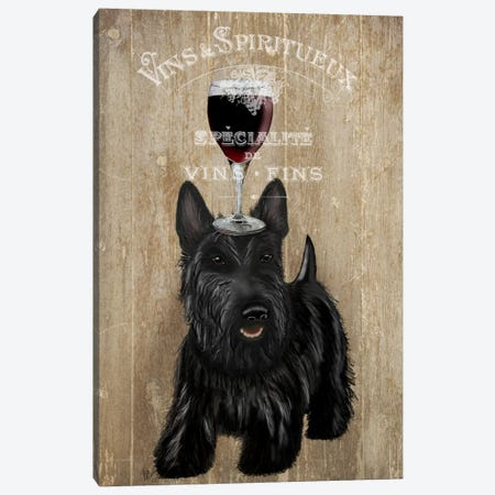 Dog Au Vin, Scottish Terrier Canvas Print #FNK614} by Fab Funky Canvas Art