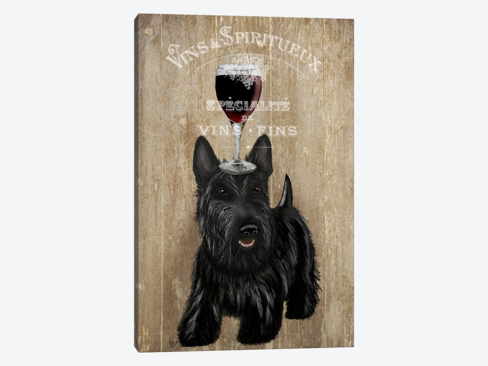 Dog Au Vin, Scottish Terrier by Fab Funky 1-piece Canvas Print
