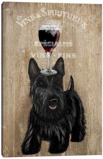 Dog Au Vin, Scottish Terrier Canvas Art Print
