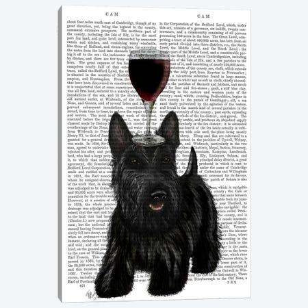 Dog Au Vin, Scottish Terrier, Print BG Canvas Print #FNK615} by Fab Funky Canvas Artwork