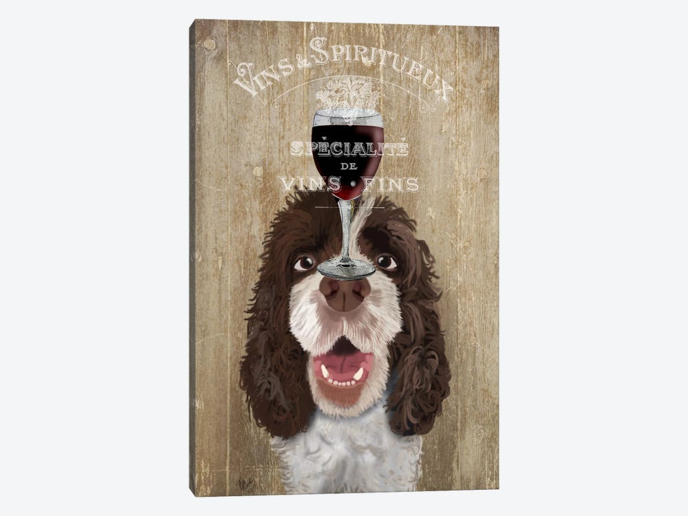Dog Au Vin, Springer Spaniel by Fab Funky 1-piece Canvas Print