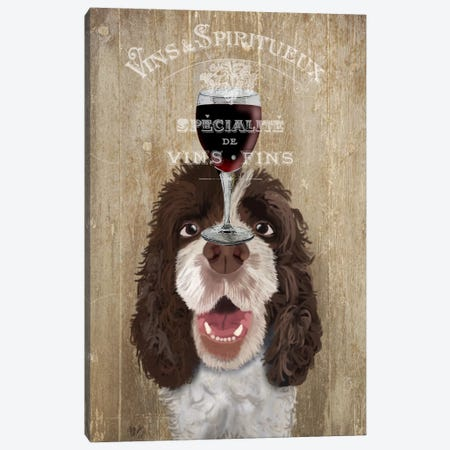 Dog Au Vin, Springer Spaniel Canvas Print #FNK616} by Fab Funky Canvas Artwork