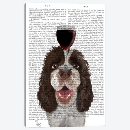 Dog Au Vin, Springer Spaniel, Print BG Canvas Print #FNK617} by Fab Funky Canvas Wall Art