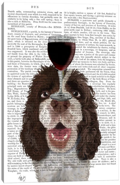 Dog Au Vin, Springer Spaniel, Print BG Canvas Art Print