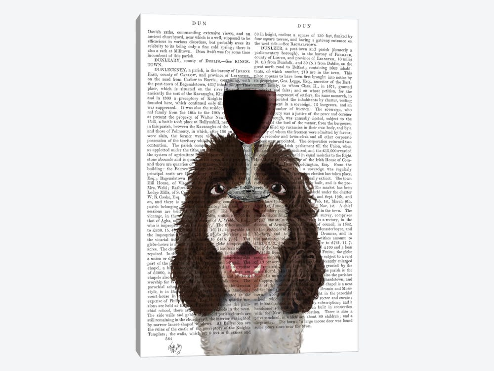 Dog Au Vin, Springer Spaniel, Print BG by Fab Funky 1-piece Canvas Wall Art