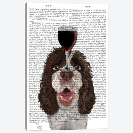Dog Au Vin, Springer Spaniel, Print BG Canvas Print #FNK617} by Fab Funky Canvas Wall Art